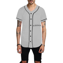 Grey Jersey With Black Survivor 1 Text and Design Men's All Over Print Baseball Jersey (T50)