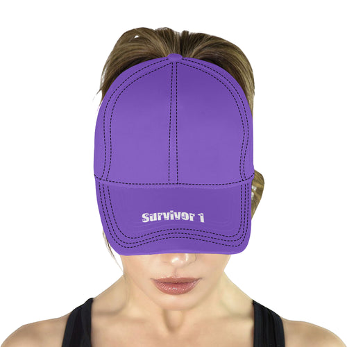 Purple Cap With White Survivor 1 Text All Over Print Dad Cap