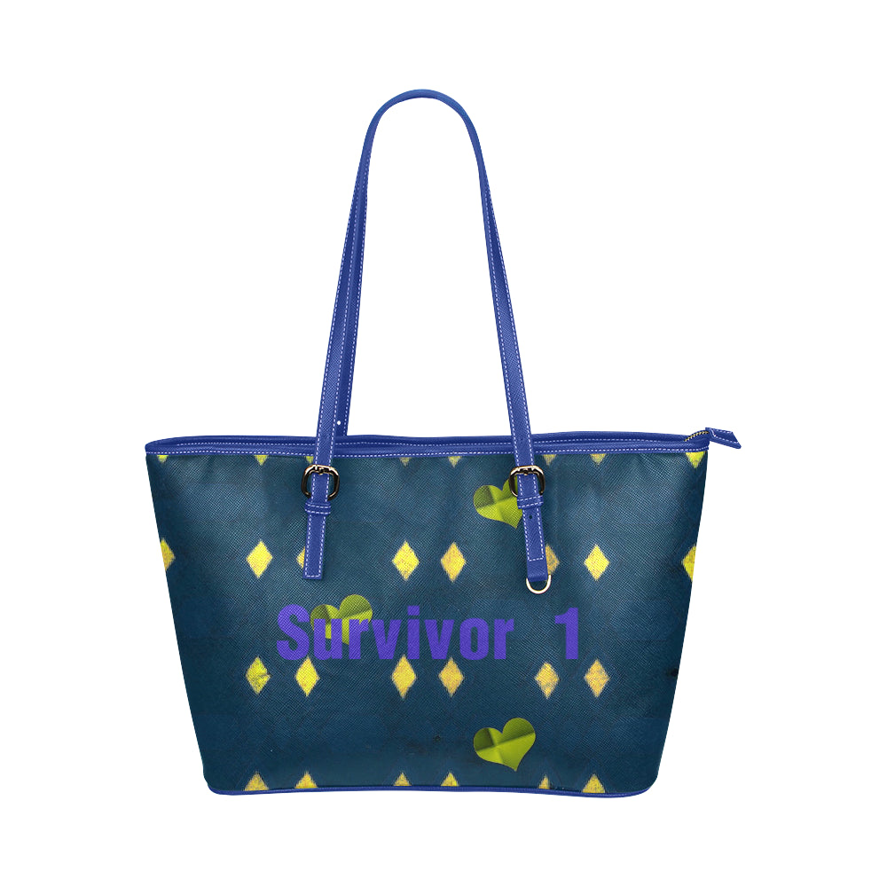 Blue, Yellow and Green Diamond Heart Design With Survivor 1 Text Leather Tote Bag (Model1651) (Big)