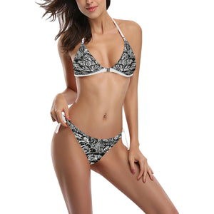 Black and White Shell Design Sexy Halter Bikini Swimsuit (Front Buckle) (Model S08)