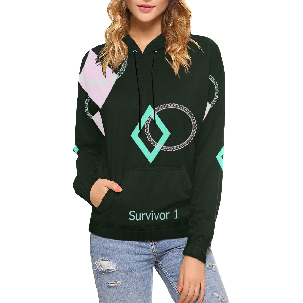 Music Note Design With Survivor 1 Text ® Women's All Over Print Hoodie (USA Size) (Model H13)