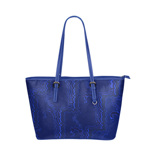 Blue Streak Design Survivor 1 Leather Tote Bag (Model1651) (Big)