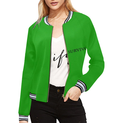 Green Jacket With Black Survivor 1 Text ® Women's All Over Print Horizontal Stripes Jacket (Model H21)