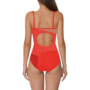 Red and Grey Shade Design © Women's Slip One Piece Swimsuit (Model S05)