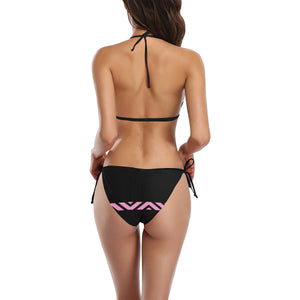 Pink and Black Line Design Sexy Halter Bikini Swimsuit (Front Buckle) (Model S08)
