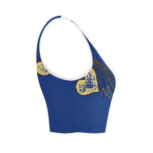 Blue and Yellow Diamond Hearts © Women's Reversible Sports Bra (Model T42)