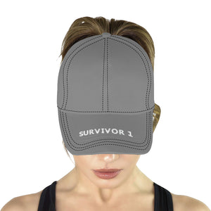 Grey Cap With White Printed Survivor 1 Text All Over Print Dad Cap