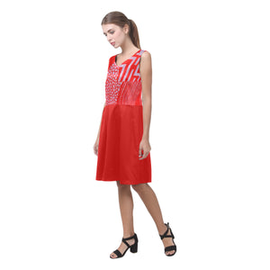Red and Light Lavender Baed Abstract Design © Sleeveless Pleated Dress(Model D07)