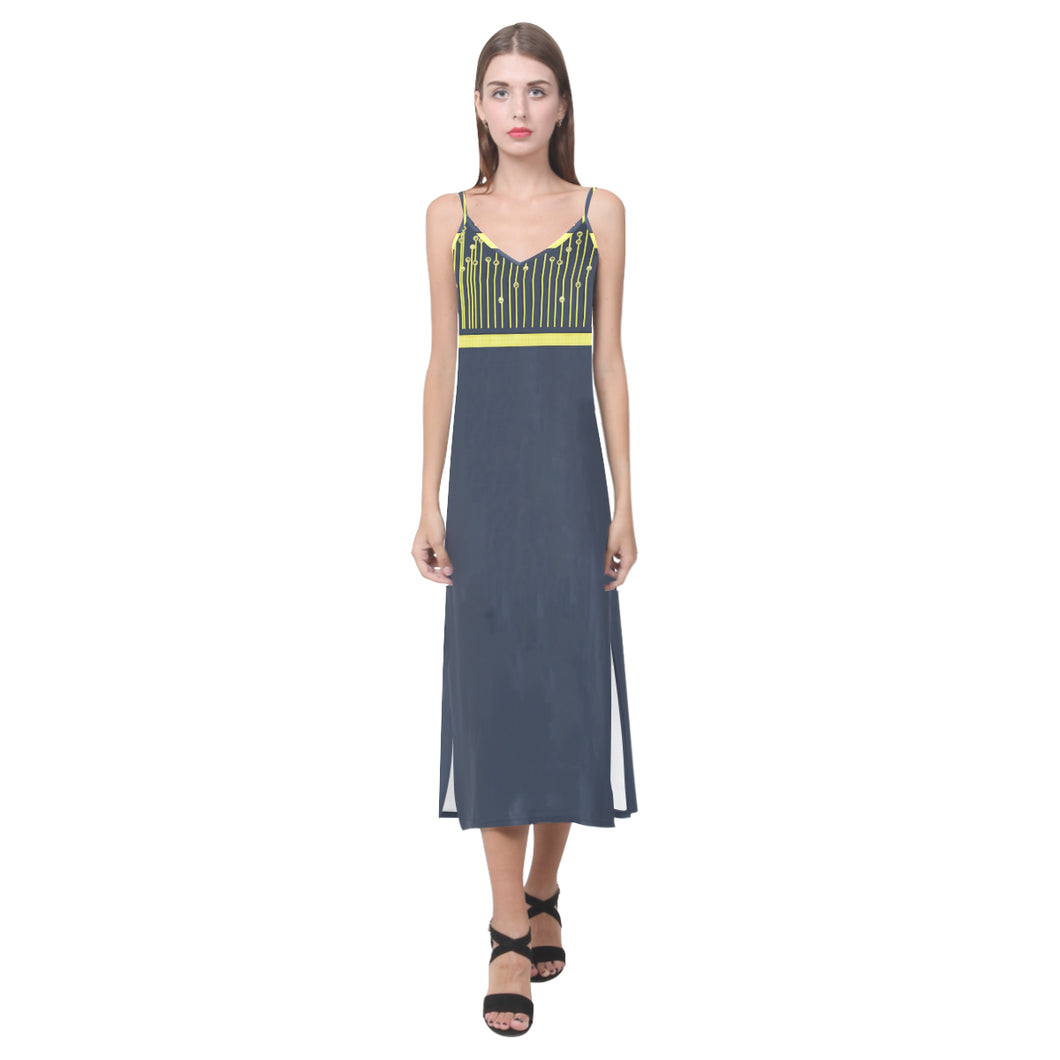 Aegean Blue and Yellow Drape Design © V-Neck Open Fork Long Dress(Model D18)