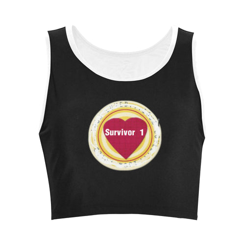 Red, White, and Yellow Heart Design With Survivor 1 Text © Women's Reversible Sports Bra (Model T42)