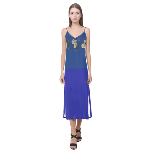 Zaffre, Blue and Yellow Heart Design With Diamonds © V-Neck Open Fork Long Dress(Model D18)