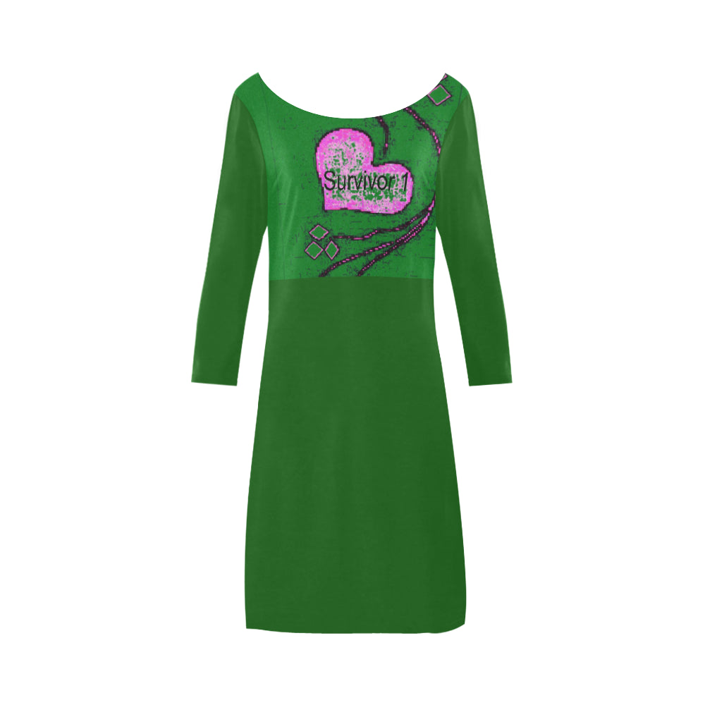 Forest, Shamrock, Green and Pink Heart Diamond Design With Survivor 1 Text © Women's Boat Neck A-line Dress(Model D21)