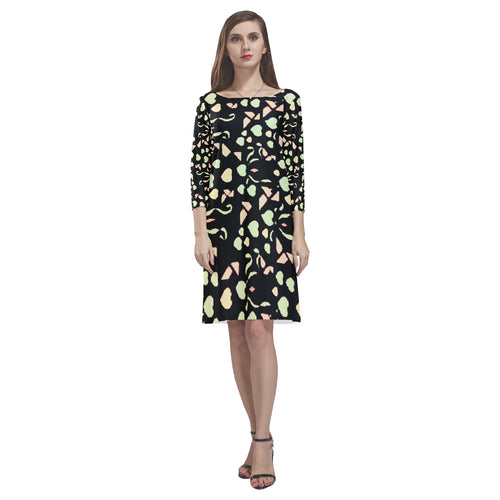 Black Colorful Heart Design Survivor 1 Loose Round Neck Dress(Model D22)