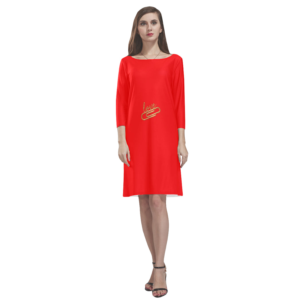 Red With Love Pin Design Text © Loose Round Neck Dress(Model D22)