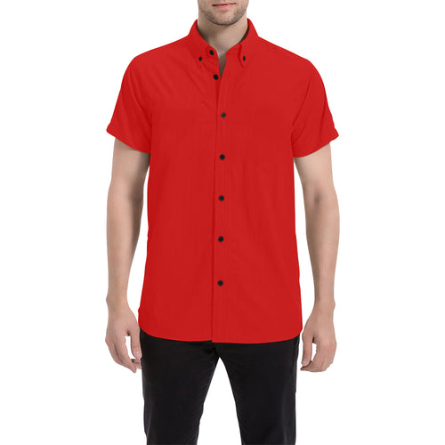 Red Shirt With Black Survivor 1 Text On The Back Men's All Over Print Short Sleeve Shirt (Large Size) (Model T53)