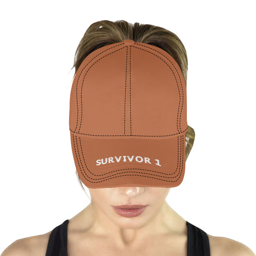Brown Cap With White Survivor 1 Text All Over Print Dad Cap