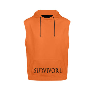 Orange and Black Survivor 1 Text ® Men's All Over Print Sleeveless Hoodie (Model H15)