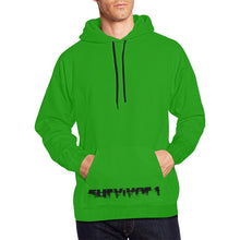 Green With Black Text ® Men's All Over Print Hoodie Large Size (USA Size) (Model H13)