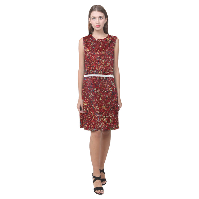 Maroon Colour Splash Design © Women's Sleeveless Dress (Model D01)