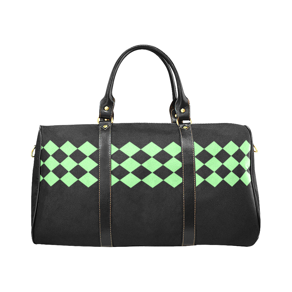 Black and Mint Diamond Design © Travel Bag (Black) (Model1639)