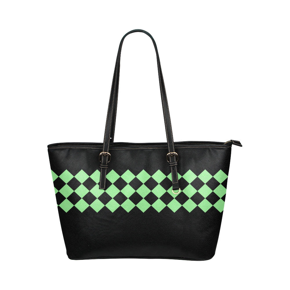 Black and Mint Green Diamond Design Survivor 1 Leather Tote Bag (Model1651) (Big)
