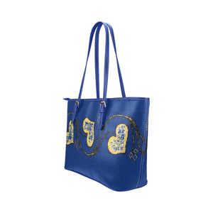 Blue and Yellow Heart Survivor 1 Leather Tote Bag (Model1651) (Big)