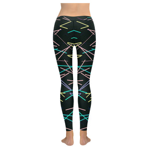 Black Color Line Design All-Over Low Rise Leggings (Model L07) (Outside Serging)