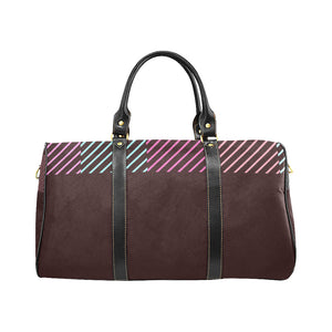 Maroon, Pink and Blue Colour Line Design © Travel Bag Black (Small) (Model1639)