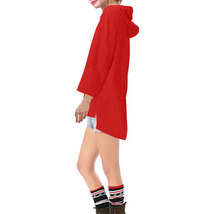 Red With White Survivor 1 Text Women's V-neck Step Hem Tunic Hoodie (Model H25)