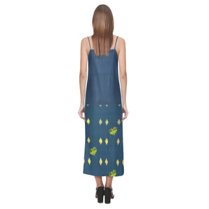 Dark Pine Green Blue With Yellow Diamonds and Hearts © V-Neck Open Fork Long Dress(Model D18)