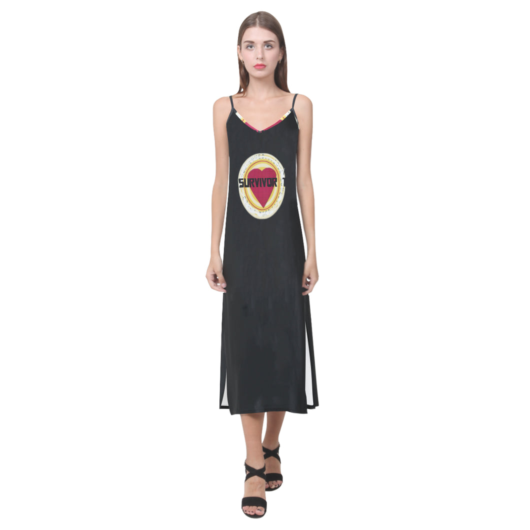 Red, White and Black Heart With Survivor 1 Text © V-Neck Open Fork Long Dress(Model D18)