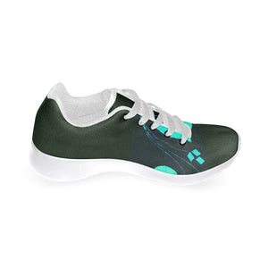 Black and Blue Diamond Design Women's Sneakers (Model020) (Large Size)