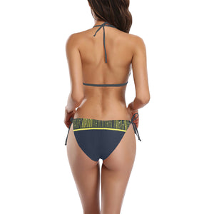 Blue and Yellow Drape Design Sexy Halter Bikini Swimsuit (Front Buckle) (Model S08)