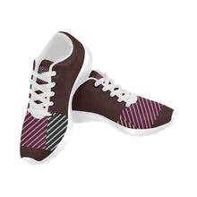 Pink, Blue and Maroon Color Line Design Women's Sneakers (Model020) (Large Size)