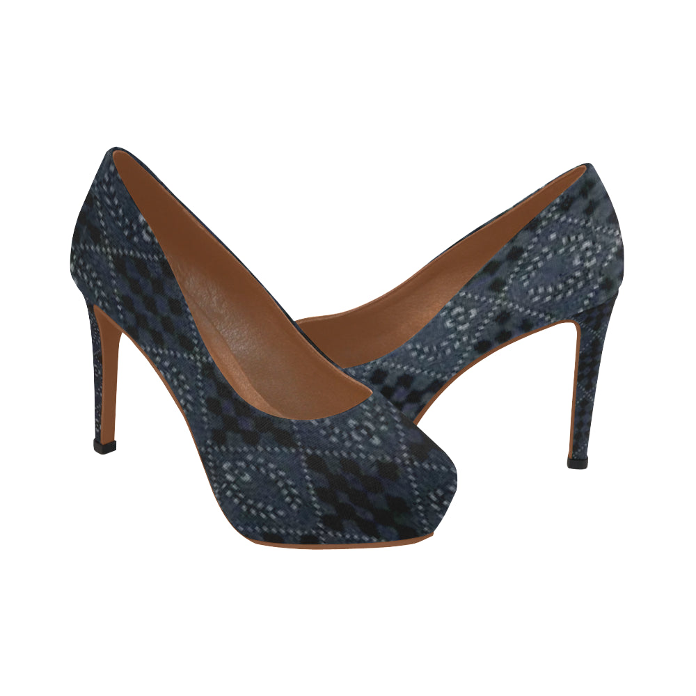 Black, Blue and Grey Laurel Diamond Design © Women's High Heels (Model 044)