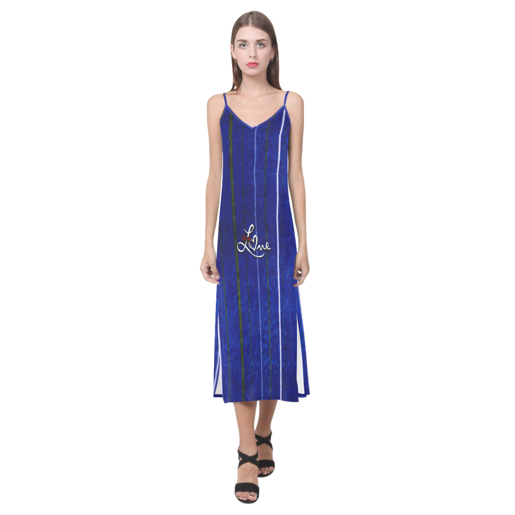 Blue, White and Grey Stripe Design With Love Text © V-Neck Open Fork Long Dress(Model D18)