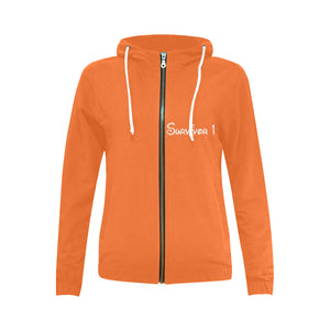 Orange Sweater With White Survivor 1 Text Women's All Over Print Full Zip Hoodie (Model H14)