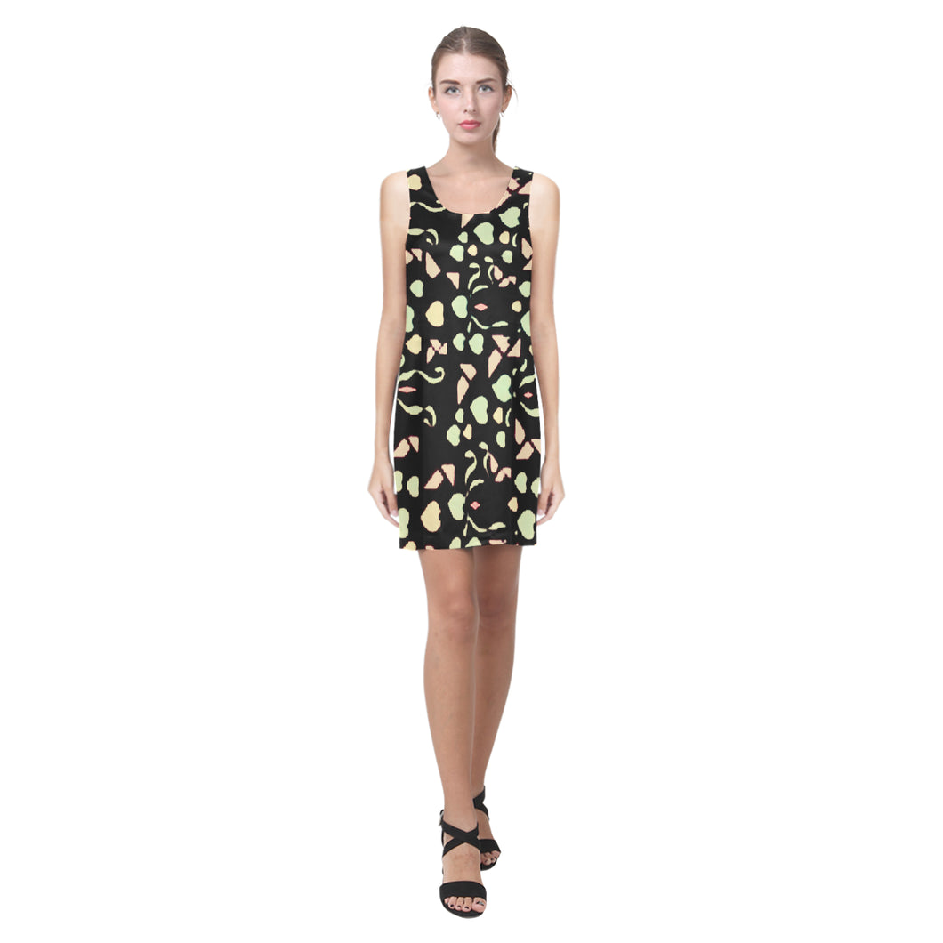 Black Colorful Heart Maple Leaf Survivor 1 © Sleeveless Dress(Model D10)