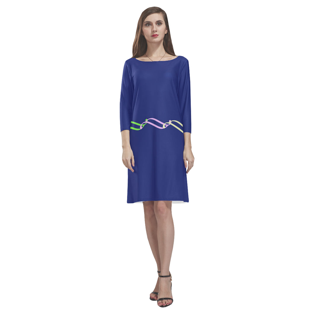 Blue, Pink and Green Color Link Design © Loose Round Neck Dress(Model D22)
