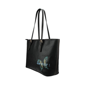 Black Bag With Butterfy and Survivor 1 Text Leather Tote Bag (Model1651) (Big)