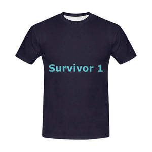 Blue Survivor 1 Text ® Men's All Over Print T-shirt (USA Size) (Model T40)