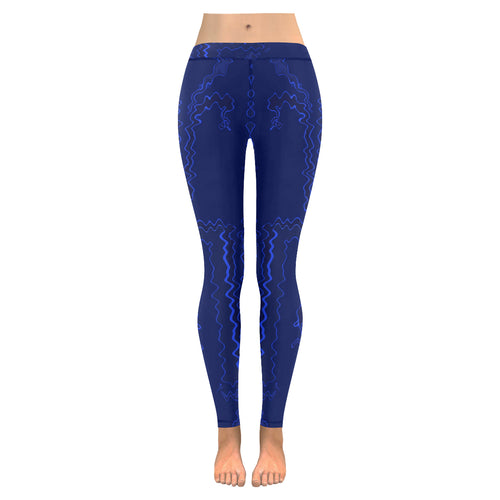 Blue Streak Design All-Over Low Rise Leggings (Model L07) (Outside Serging)