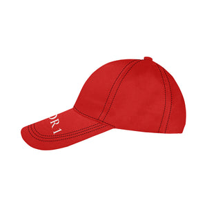 Red Cap With White Survivor 1 Text All Over Print Dad Cap
