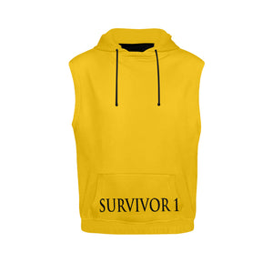 Yellow and Black Survivor 1 Text ® Men's All Over Print Sleeveless Hoodie (Model H15)