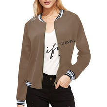 Brown Jacket With Black Survivor 1 Text ® Women's All Over Print Horizontal Stripes Jacket (Model H21)