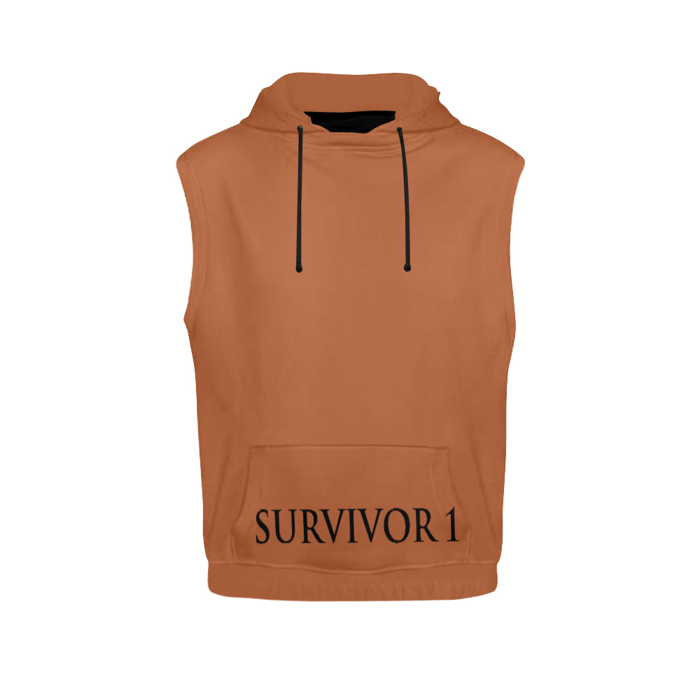 Brown and Black Survivor 1 Text ® Men's All Over Print Sleeveless Hoodie (Model H15)