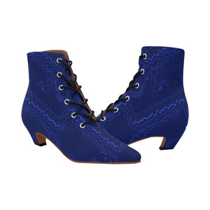 Blue Streak Design Women's Chic Low Heel Lace Up Ankle High Boots (Model 052)