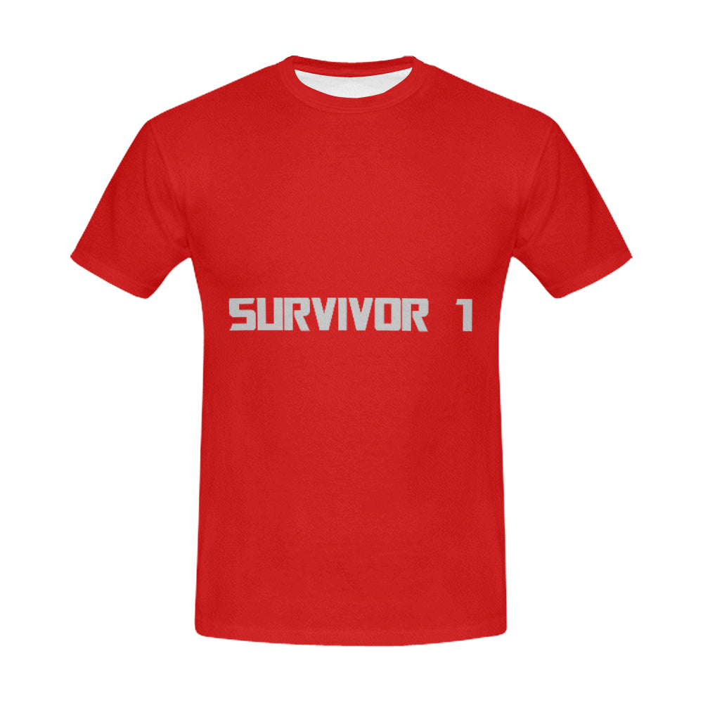Red And White Survivor 1 Text ® Men's All Over Print T-shirt (USA Size) (Model T40)