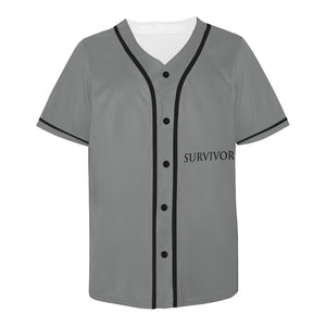 Grey Jersey With Black Survivor 1 Text and and Black Design Men's All Over Print Baseball Jersey (T50)