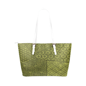 Intricate and Ornate Artisan Patterns With a White Strap Handle Survivor 1 Leather Tote Bag (Model1651) (Big)